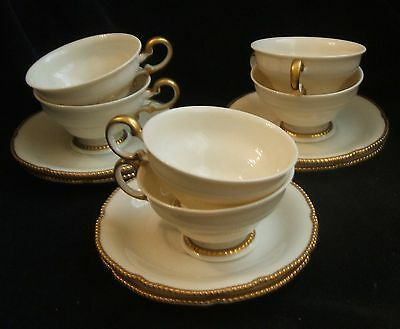 6 Vintage Castleton Sovereign Pattern Cups and Saucers With Gold Trim