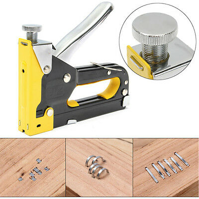 Multipurpose Three-way Shooting Staple Gun Yellow Stapler Staple & Brad Nails