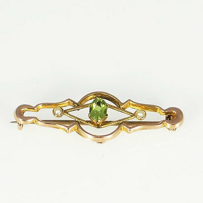 Antique 9ct Rose Gold Peridot & Pearl Brooch Chester 1917