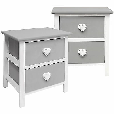 Hartleys Pair Of Grey Heart Bedside Cabinets Table/unit Girls Bedroom/nightstand