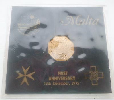 Malta Coins  1975 25 Cent Coin In Special Anniversary Pack  Fine Look