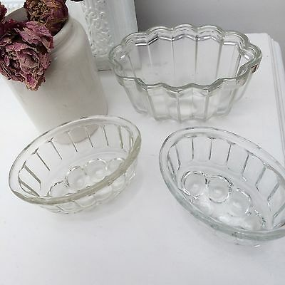 Vintage Trio Pretty Glass Jelly Moulds - Kitchenalia  Cabbages Roses Shabby Chic