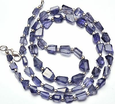 """Natural Gemstone Iolite Step Cut Faceted Nugget Beads Necklace 21"""" 112Cts."""