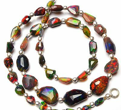 Super Rainbow Flashing Fire Ethiopian Black Opal Faceted Nuggets Necklace 18.5""