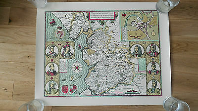 Reproduction 1610 map of Lancaster (Lancashire) Poster sized approx 58x45cm