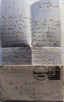 India 1878 Cover With 6 Annas Stamp & Palancotta Postmark & Letter To England