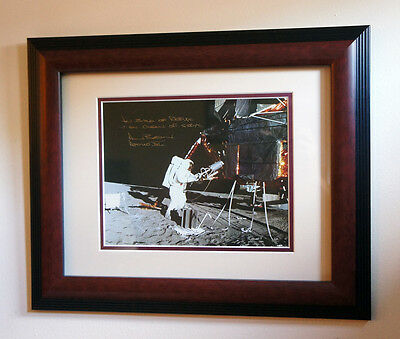 ALAN BEAN SIGNED & FRAMED 8x10 PHOTO, on the Moon with Apollo 12 Lunar Module!