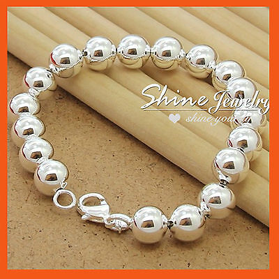 925 Sterling Silver Filled Ball Chain CHUNKY Solid Bracelet Bangle Womens gift