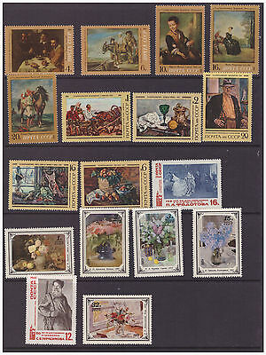 Russia  Art, Paintings selection of mint sets stamps MNH  3 scans