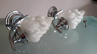 ART DECO WALL SCONCES 1930s CLASSICS. A1 ORDER,PLATED OVER BRASS, WITH GLASSES,