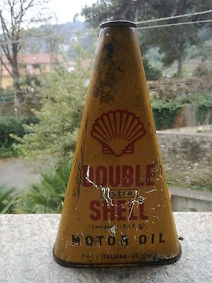 Bidon SHELL Double Ancien Huile 1940 Can Tin Oldose Oel dose Triangulaire