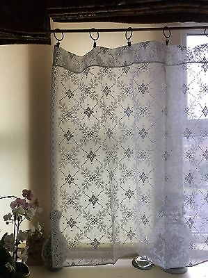 "Trellis Laura Ashley Victorian style White cotton lace curtain panel 50""by 35"""