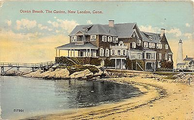 New London Connecticut~Ocean Beach Showing Casino~Lighthouse in Bkgd~1914 PC