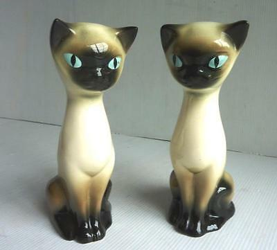 Vintage 2 Ceramic Siamese Cat Ornaments - Height 6.75 inches - V.G.C.
