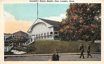 New London Connecticut~Wordell's Ocean Beach Building~People xing Street~1920s