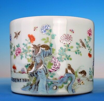 Old Rare Chinese Antique Hand Painting Porcelain Brush Pot Marked GuangXu