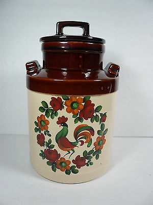 McCoy Rooster Milk Can Shape Canister Flowers Brown Cream - Vintage