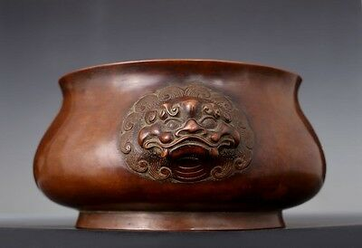 Large Rare Antique Chinese FooDog Heads Bronze XuanDe Censer Marked QianLong