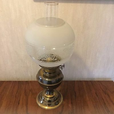 vintage working oil lamp with chimney and shade - twin burner