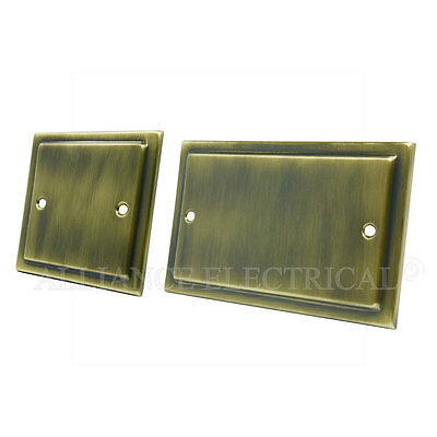 Victorian Antique Brass Single / Double Blank Plate - Electrical 1G 2G Blanking