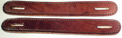 Lot of 2 Brown Leather double and stitched Slotted Steamer trunk handles
