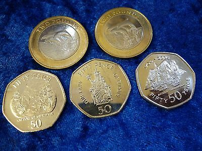 Gibraltar 5 Coin Lot - lightly circ. 2014 & 15 Dolphins £2, UNC 50p x 3