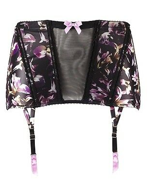 Gossard Iris Floral Print Waspie Suspender Size Small UK10  - New with Tags