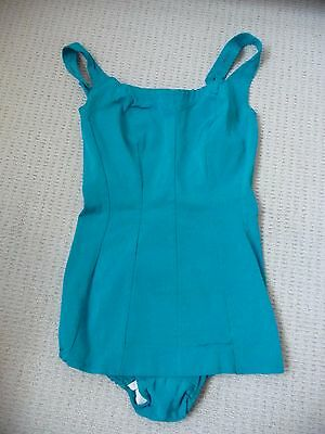 Vintage 1950's Turquoise Swimsuit Swimming Costume. Suit Uk 8
