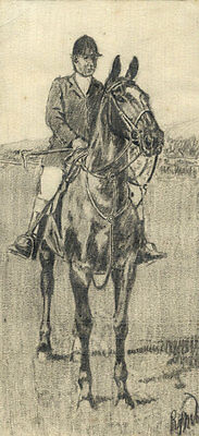Richard J. M. Dupont - Mid 20th Century Graphite Drawing, On a Horse
