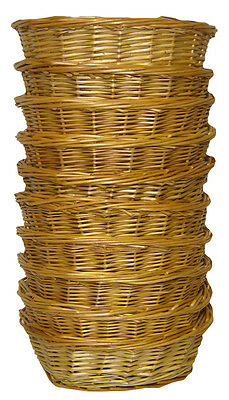 10 x Oval Wicker Gift Basket Packing Tray Small Storage - SMALL NATURAL