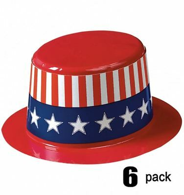 PATRIOTIC MINI USA PLASTIC TOP HAT America USA American Flag Party Top Hat 53001