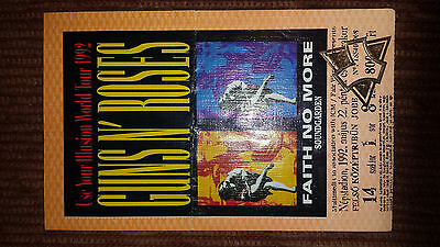 Guns N' Roses Concert Ticket Budapest Hungary 1992 authentic vintage