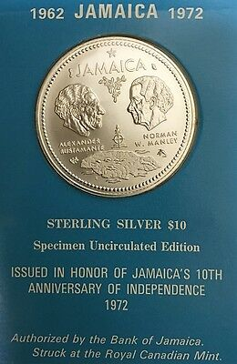 1962 - 1972 JAMAICA Sterling Silver $10 Ten Dollars Specimen Uncirculated