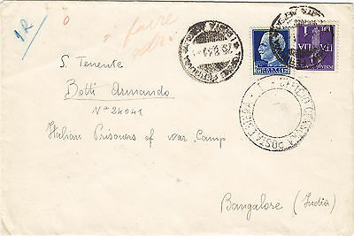 ITALY (38s) 1941 cover st. from Torino to italian pow CAMP BANGALORE INDIA