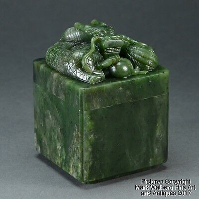 Chinese Nephrite Spinach Jade Covered Seal Box w/ Dragon & Flaming Pearl, 19th C