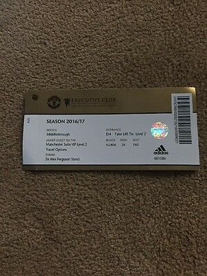 Manchester United V Middlesbrough Used Ticket  2016/2017 Season
