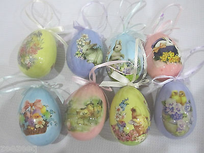 Primitive VTG Style Easter Egg Ornaments Tree Decorations Qty of 8
