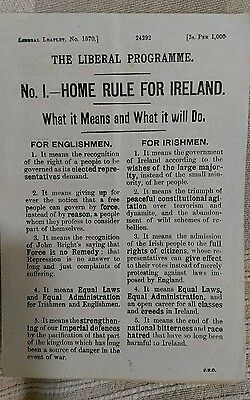 Vintage Liberal Party leaflet 1868 - Home Rule What it Means and What it will Do