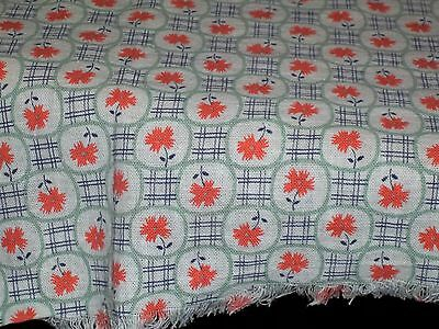 Vintage Feed Sack Feedbag Doll clothes fabric Small Orange Flowers Green & Navy