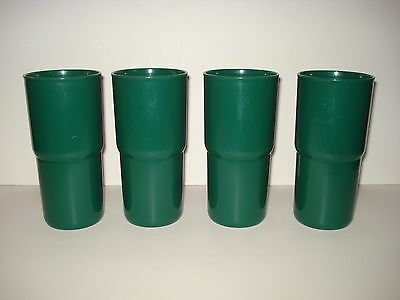 "Set 4 Tupperware Tabletop 18 Oz. ""J"" Stacking Tumblers/cups #2413 Hunter Green"