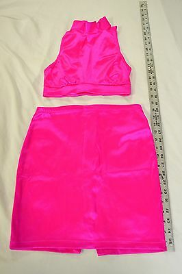 Skirt Halter Top Exotic Dancer Stripper Club Hot Pink Clubwear Shiny Stretchy