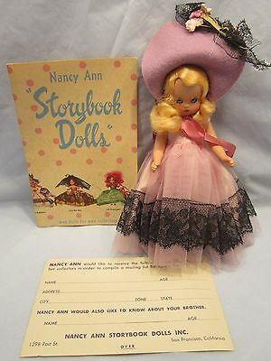 Nancy Ann Storybook Girl Doll Lavender Clothes Eyes Open Close + Box Two Paper