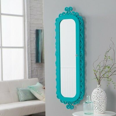 Mirrored Jewelry Armoire Wall Mount Cabinet Hanging Accent Mirror