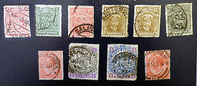 Rhodesia mix of ten old used stamps