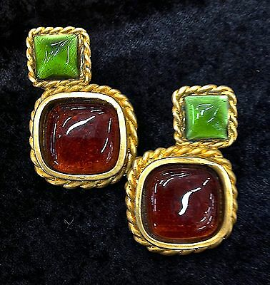 Authentic Vintage  Chanel Carnelian & Green Gripoix Glass Large Clip On Earrings