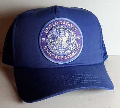 United Nations Stargate Command Logo BLUE Trucker/Mesh Back Cap/Hat- on Blue Cap