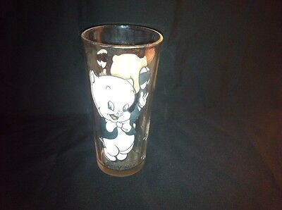 "1973 Pepsi Warner Brothers Porky Pig Glass 6 1/4"" Black Letters - Very Nice"