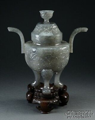 Chinese Black & White Jade Covered Censer, Late Qing to Republic Period