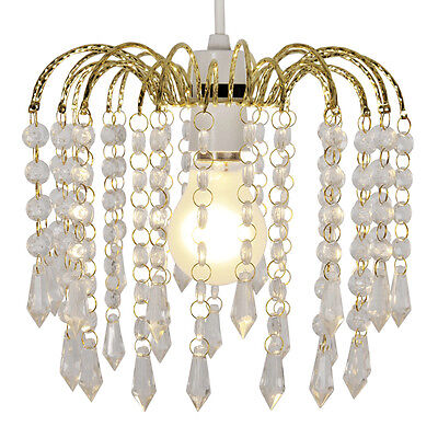 Vintage Style Gold / Acrylic Crystal Ceiling Pendant Light Shade Chandelier