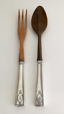 Carthage By Wallace 1917 Sterling Silver And Wooden Salad Server Set